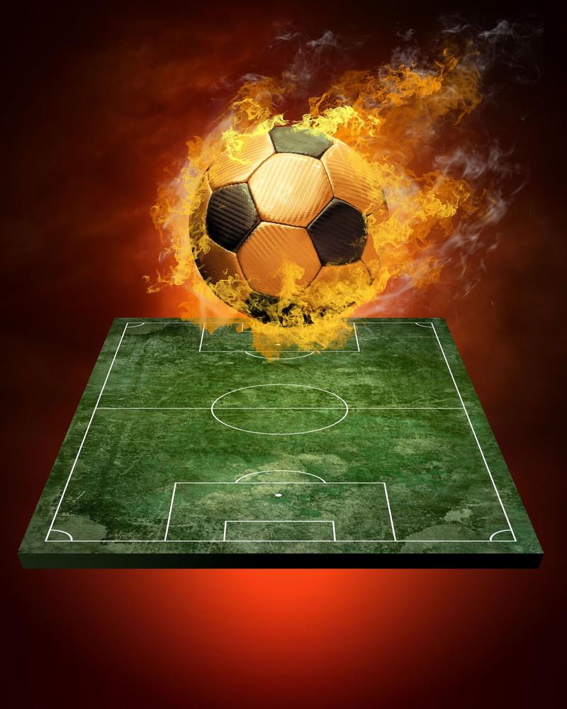 炎に包まれるボール